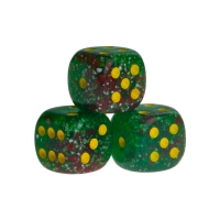 Dice - Las Vegas - green - plastic - 16 mm