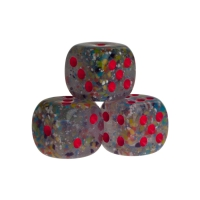 Dice - Las Vegas - lucent red - plastic - 16 mm