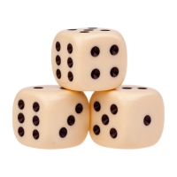 Dice (6) - ivory - plastic material - 22 mm