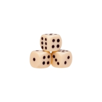 Dice (6) - ivory - plastic material - 10 mm