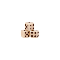 Dice (6) - ivory - plastic material - 5 mm