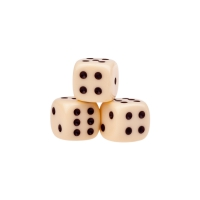 Dice (6) - ivory - plastic material - 12 mm