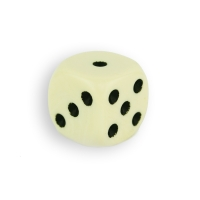 Dice (6) - ivory - plastic material - 16 mm