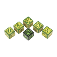 Hordes Circle Orboros Dice - green and yellow - 6 pieces