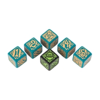 Hordes Trollbloods Dice - turqouise and beige - 6 pieces