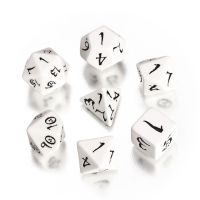 Classic RPG Dice Set - white and black  - 7 pieces