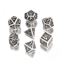 Dwarven Dice Set BOX - white and black - 7 pieces