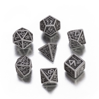 Dwarven Dice Set BOX - gray and black - 7 pieces