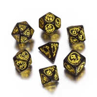Dragons Dice - black and yellow - 7 pieces