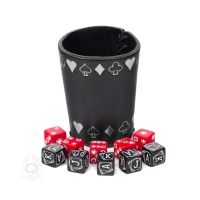 Poker Dice Set with Silver Poker Leather Cup - red and black