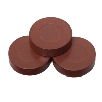 Playing pieces - circular - wood - brown - 28 x 7 mm
