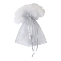 Transparency bags with plumes -  ca. 180 x 130 mm - oval - Polyester