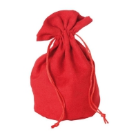 Velour bag with bottom - large -  ca. 215 x 160 mm - oval - suede