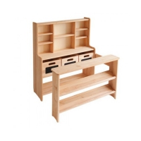 Small shop - solid alder - untreated - 83 x 103 x 77-90 cm