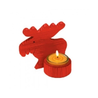 Elchlicht - red - pine wood - with candle holder - 14 cm