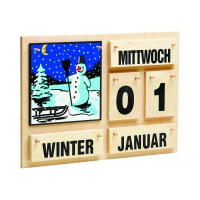 Annual calendar - black font - Wood - 35 x 50 cm