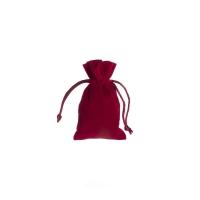 Stoffbeutel aus Samt - ca. 7 x 12 cm - bordeaux - rot