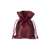 Satin fabric bags - ca. 10 x 15 cm - bordeaux - red