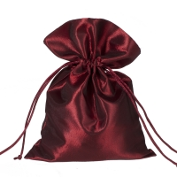 Satin fabric bags - ca. 15 x 20  cm - bordeaux - red