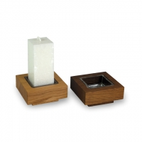 Candlestick including crystal candle -. Oak smoked - candle color crystal white