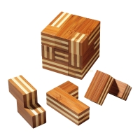 Somawürfel -  Bambus - 7 Puzzleteile - Denkspiel - Knobelspiel - Geduldspiel