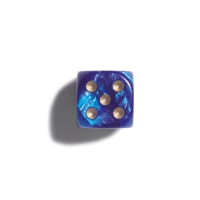 Dice - 12 mm - blue - pearl - 36 pieces