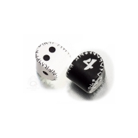 D2undD4 Unique Runic Dice Set - 2 white und blackD2 black und whiteD4