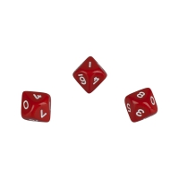 10-sided dice - trapezoids - D10 - 0-9 - red