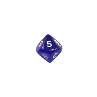 10-sided dice - trapezoids - D10 - 0-9 - blue transparent