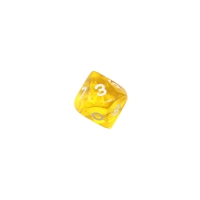 10-sided dice - trapezoids - D10 - 0-9 - yellow transparent