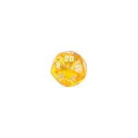 20-seitiger Würfel - Ikosaeder - W20 - transparent - gelb