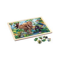 Holz-Rahmenpuzzle - Junior Jungle - Elefant und Affe