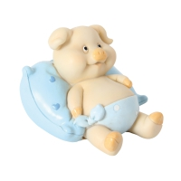 Money box pig with pillow blue