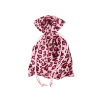 Sack - bags - Leopard design - with cord - about 120x165 mm - long - black-pink
