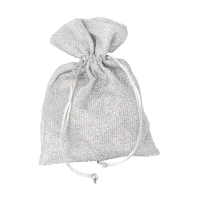 Glitter bag - with cord - about 155x220 mm - long - silver