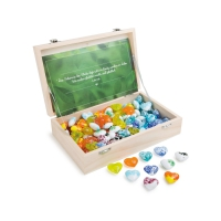 Lucky glass heart in wooden box