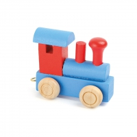 Letter train locomotive red and blue