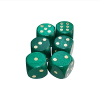 Dice (6) - special imprint - green / gold - wooden - 16 mm