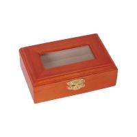 Holzbox mit Glasdeckel - lackiert -  rotbraun