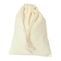 Cotton bag with cord -  ca. 140 x 100 mm - long - cotton