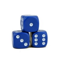 Dice (6) - blue - plastic material - 16 mm