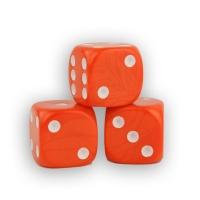 Würfel - orange - W6 - Kunststoff - 16 mm