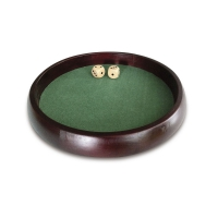Dice tray wooden - brown - diameter 34 cm