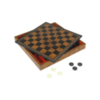 Chess cassette - from reclaimed leather - field size 28 mm