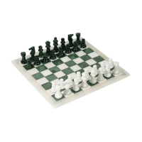 Chess game - Alabaster - green and white - king size 73 mm