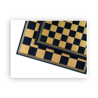 Chessboard - Salpaleder - blue and gold - width 33 cm - field size 35 mm