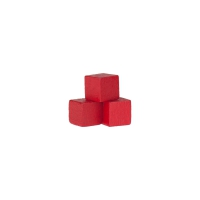 Dice - game piece - edged - red - wood - 10 mm