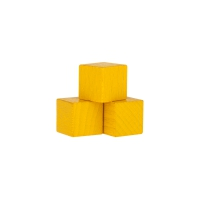 Dice - game piece - edged - yellow - wood - 15 mm