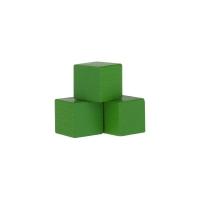 Dice - game piece - edged - green - wood - 15 mm