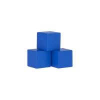 Dice - game piece - edged - blue - wood - 15 mm